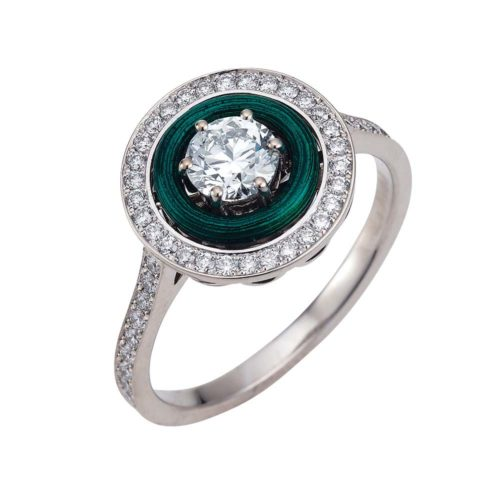 Diamond-set, white-yellow gold ring with emerald green guilloche enamel
