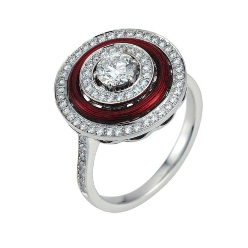 Diamond-set, white-yellow gold ring with aubergine red guilloche enamel