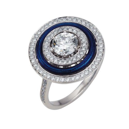 Diamond-set, white-yellow gold ring with blue guilloche enamel
