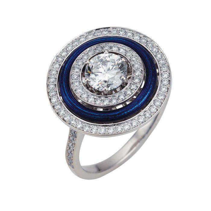 Gold-Ring mit Diamanten und blauem Emaille