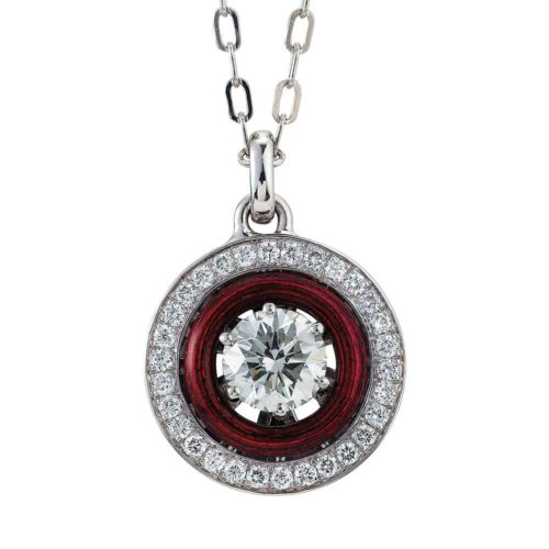 Diamond-set, white-yellow gold pendant with aubergine red guilloche enamel