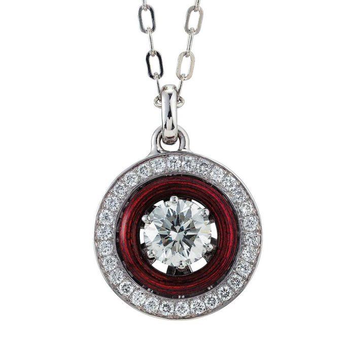 Diamond-set, white-yellow gold pendant with aubergine red guilloche enamel