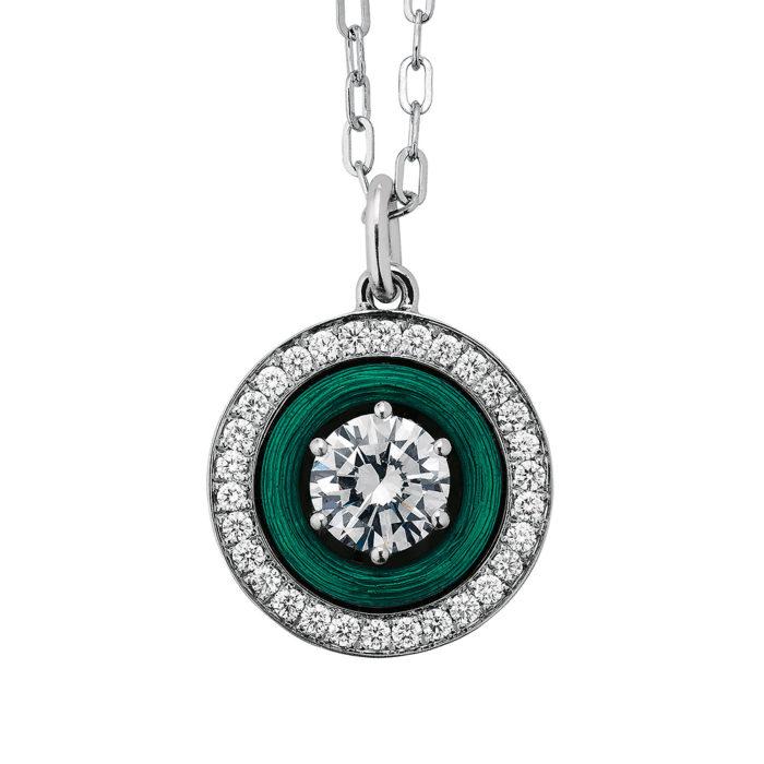 Gold-Anhänger mit Diamanten und grünem Emaille