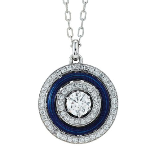 Diamond-set, white-yellow gold pendant with blue guilloche enamel