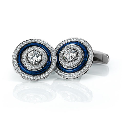 Diamonds-set, white gold cuff-links with blue guilloche enamel