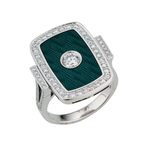 Diamond-set, white gold ring with emerald green guilloche enamel