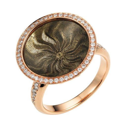Diamond-set gold ring with light grey enameled guilloche