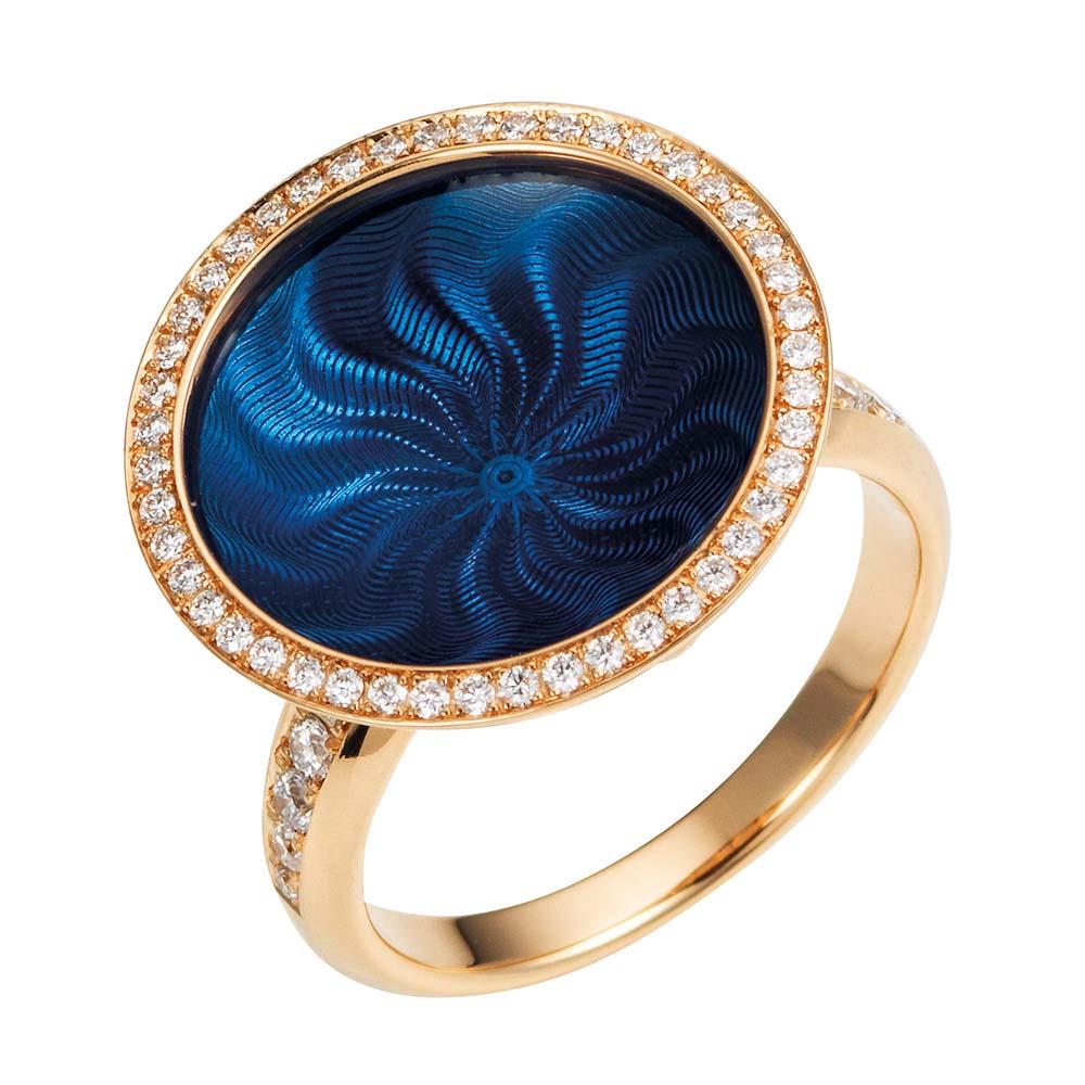 Diamant-besetzter Gold-Ring mit blau emailliertem Guilloche