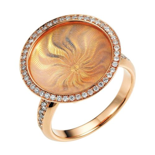 Diamond-set gold ring with opalescent enamel guilloche