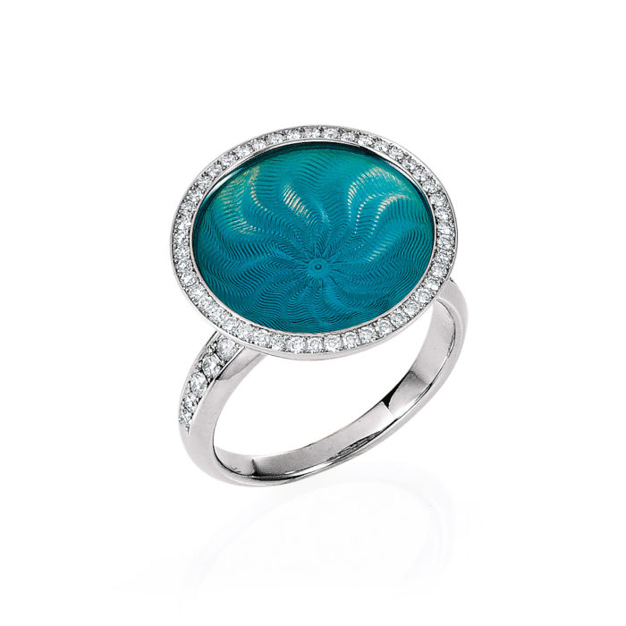 Diamond-set gold ring with opalescent turquoise enameled guilloche