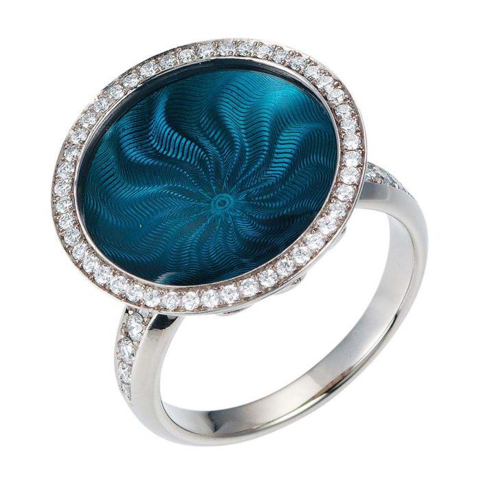 Diamant-besetzter Gold-Ring mit petrolfarben emailliertem Guilloche