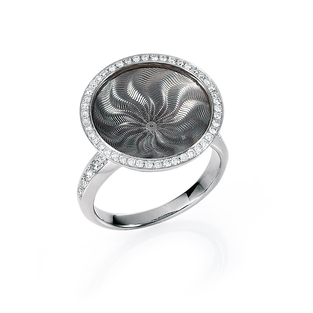 Diamond-set gold ring with silver enameled guilloche