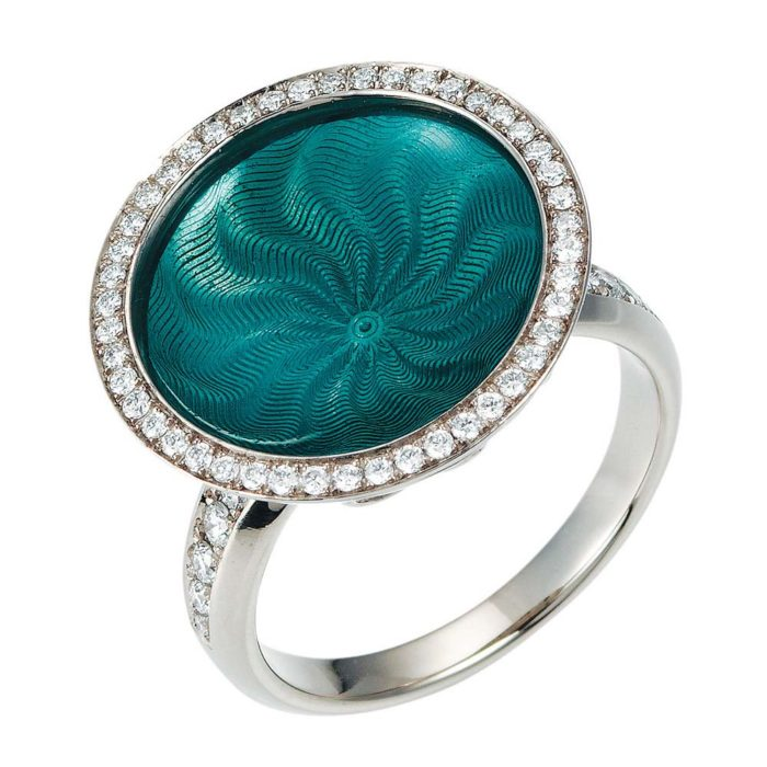 Diamond-set gold ring with turquoise enameled guilloche