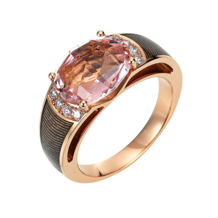 Diamond-set rose gold ring with light grey guilloche enamel with pink tourmaline