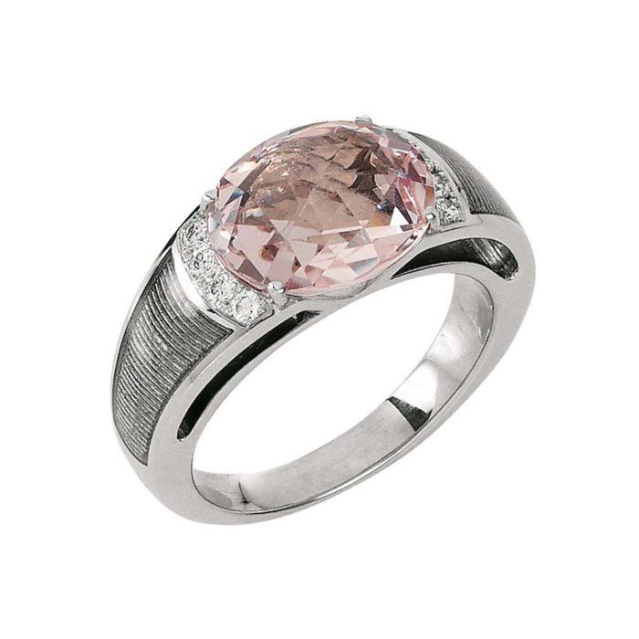 Diamant-besetzter Gold-Ring mit silberfarben emailliertem Guilloche und Morganit