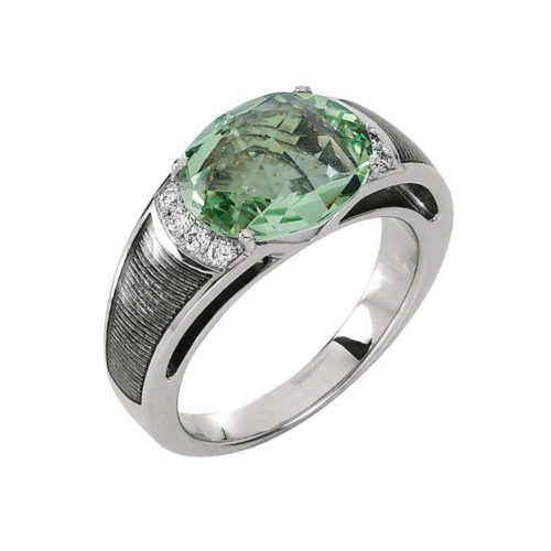 Diamond-set, white gold ring with silver guilloche enamel and heliodor