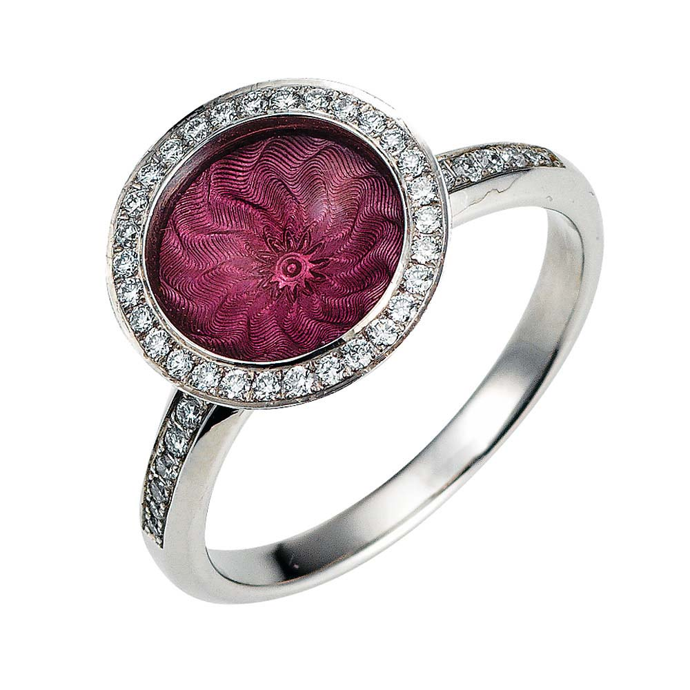 Diamond-set gold ring with pink enameled guilloche