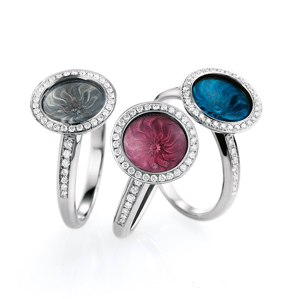 Diamond-set gold ring with silver, blue and pink enameled guilloche