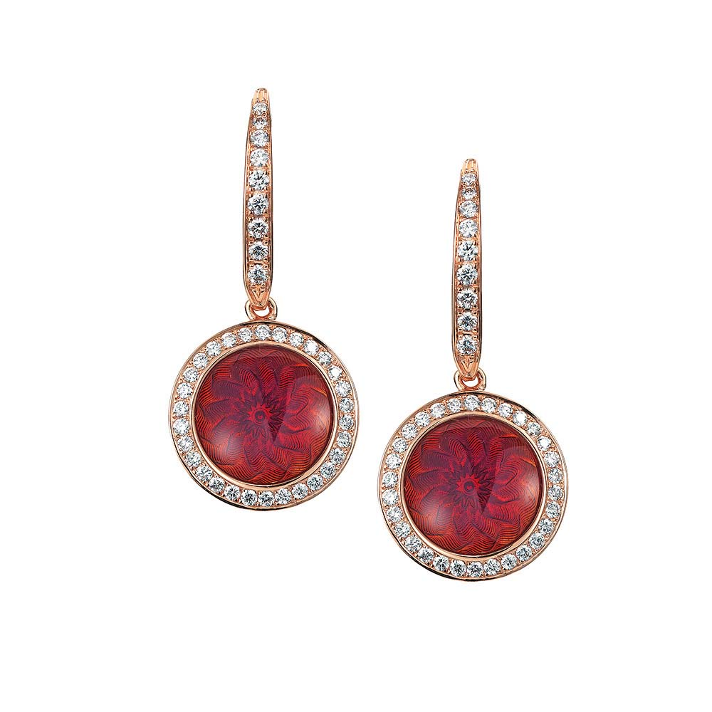 Diamond set gold earrings with opalescent raspberry coloured enameled guilloche