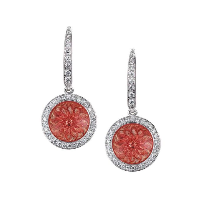 Diamond-set gold earrings with pink enameled guilloche