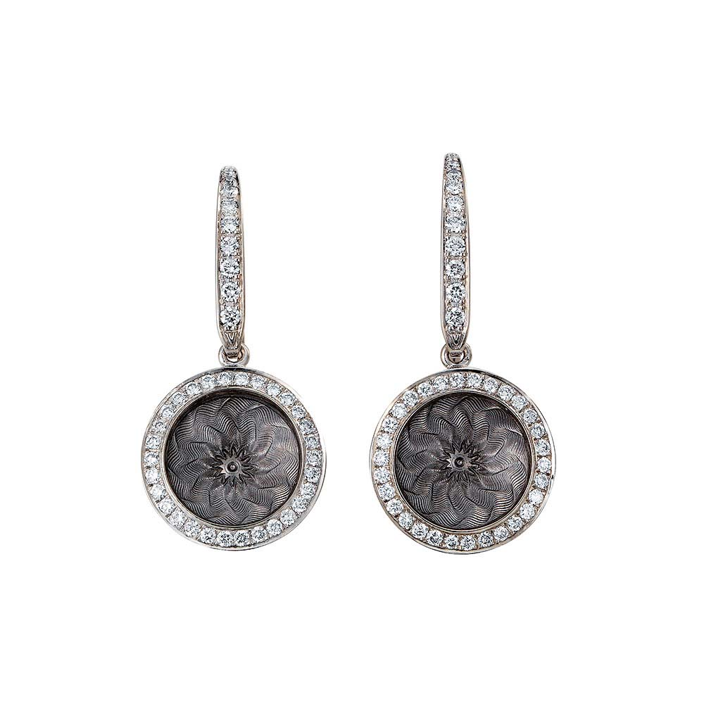 Diamond-set gold earrings with silver enameled guilloche