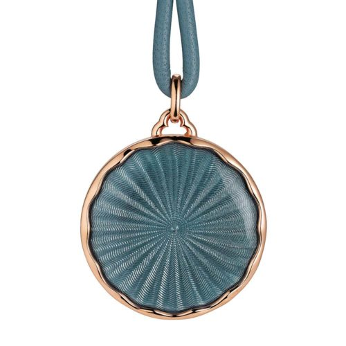 Gold pendant with grey enameled guilloche and diamonds