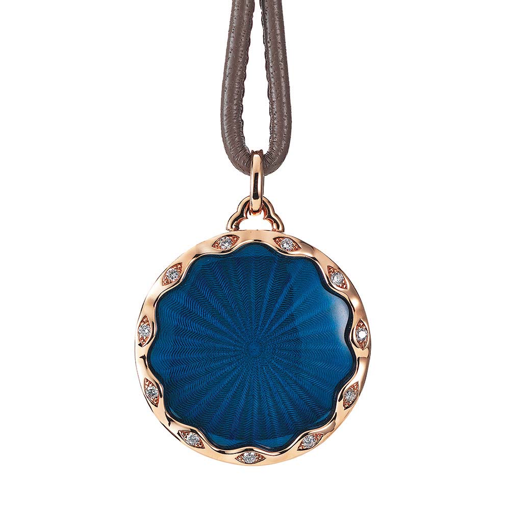 Gold pendant with blue enameled guilloche and diamonds