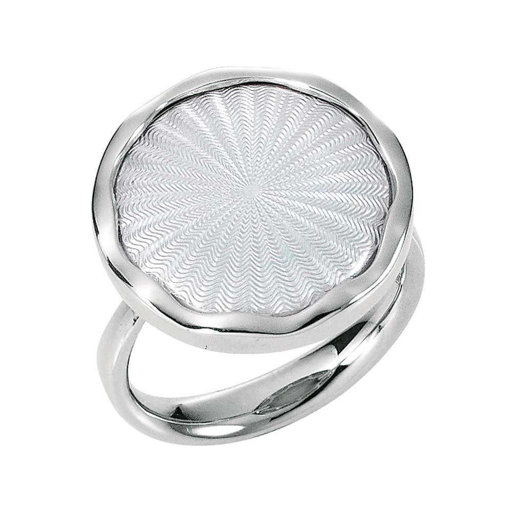 Gold-Ring mit silberfarben emailliertem Guilloche