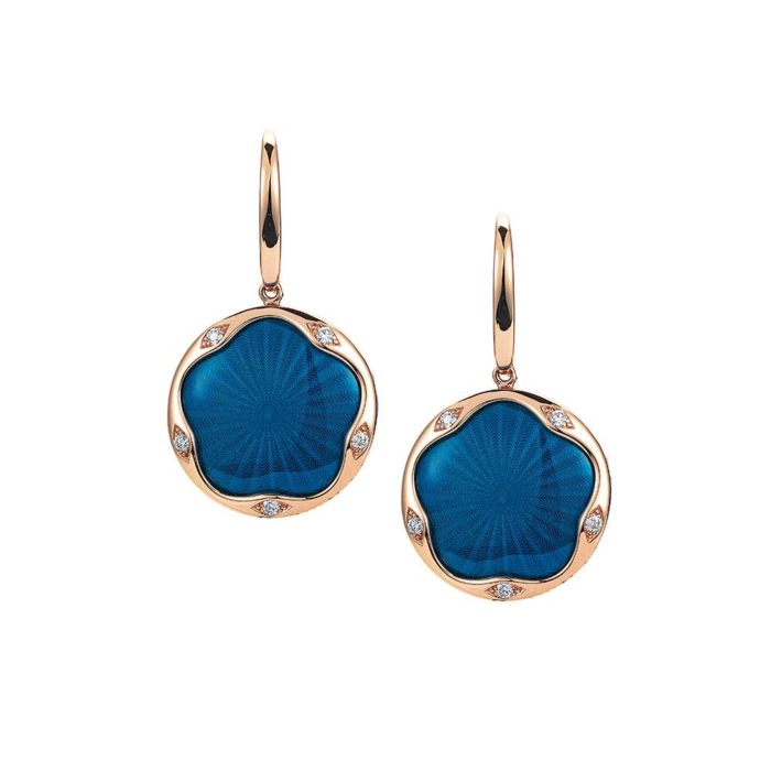 Gold earrings with blue enameled guilloche and diamonds