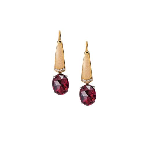 Diamond-set, yellow-white-gold earrings with opal white guilloche enamel and rubellite