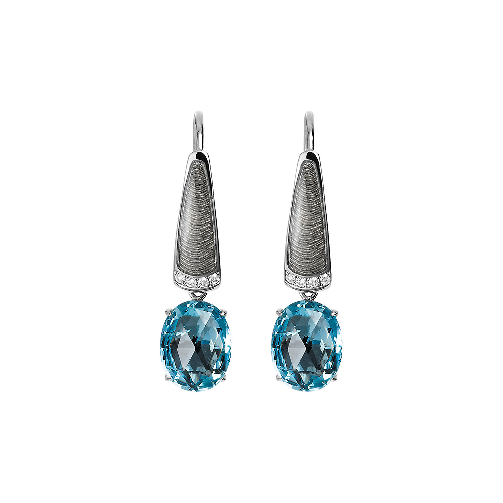 Diamond-set, white gold earrings with silver guilloche enamel and aquamarine