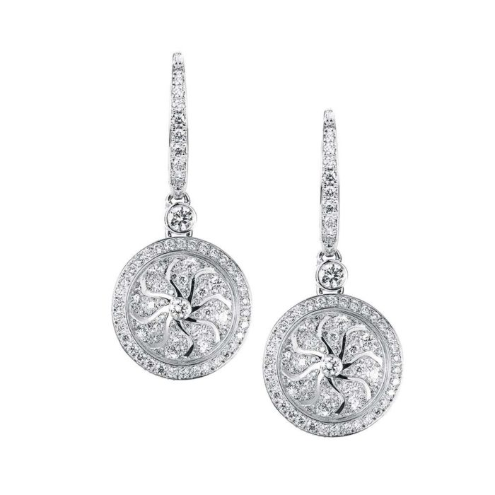 Diamond-set gold earrings