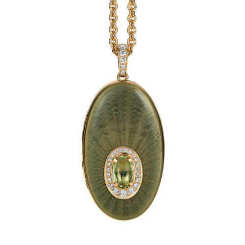 Diamant-besetztes Gold-Medaillon mit grün emailliertem Guilloche und rosa Turmalin zum Aufklappen für eigene Bilder