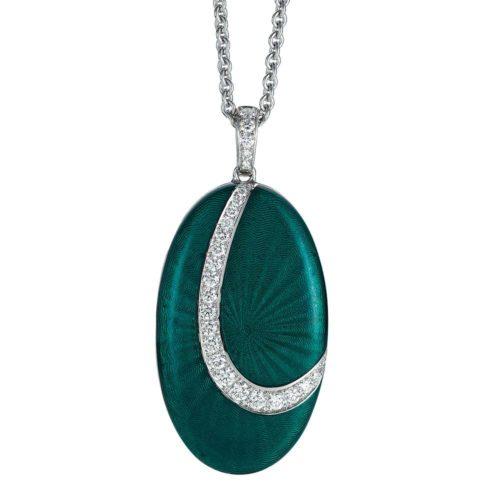 Diamant-besetztes Gold-Medaillon mit grün emailliertem Guilloche zum Aufklappen für eigene Bilder