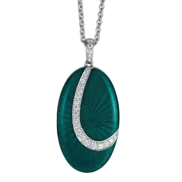 Diamond-set, white-gold locket-pendant with emerald green guilloche enamel