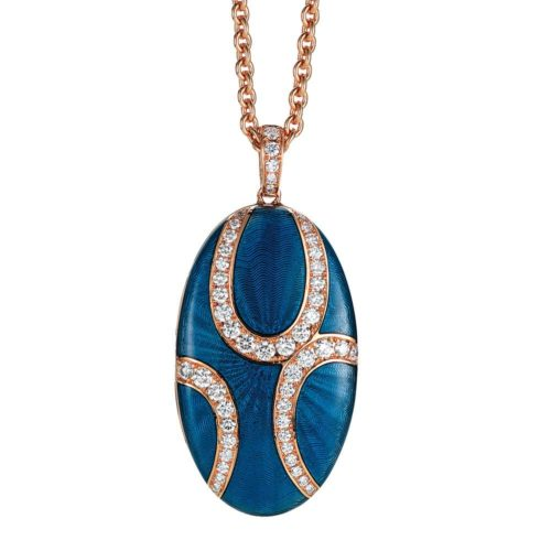 Diamond-set, rose gold locket-pendant with light blue guilloche enamel