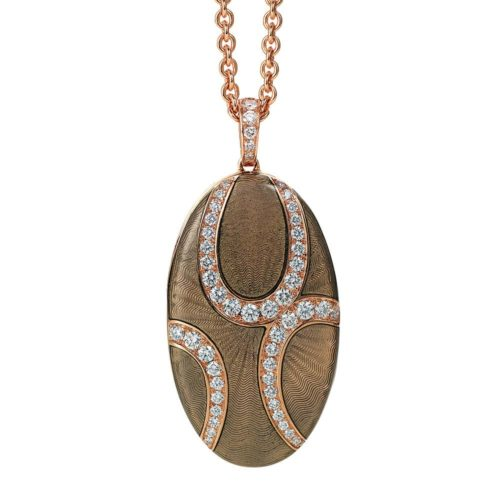 Diamond-set, rose gold locket-pendant with light grey guilloche enamel