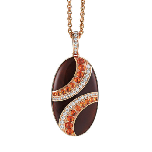 Diamond-set, rose gold locket-pendant with marron guilloche enamel and mandarin garnet