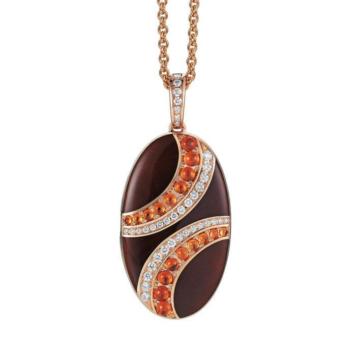 Diamant-besetztes Gold-Medaillon mit marron emailliertem Guilloche und Mandarin Granat zum Aufklappen für eigene Bilder