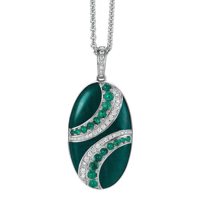 Diamond-set, white gold locket-pendant with emerald green guilloche enamel and emeralds
