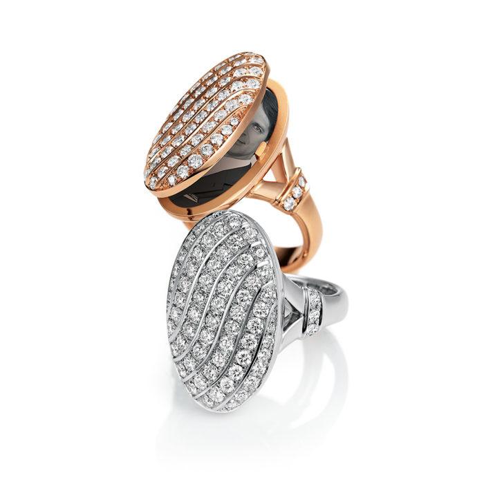 Diamant-besetzter Gold-Ring mit Medaillon für eigene Bilder
