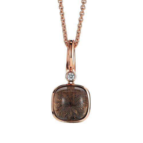 Diamond-set, rose gold pendant with smoky quartz on guilloched pattern
