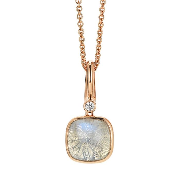Diamond-set, rose gold pendant with white moon stone on guilloched pattern
