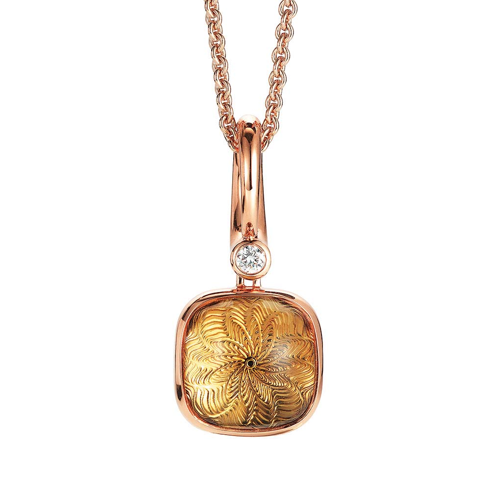 Diamond-set, rose gold pendant with gold citrine on guilloched pattern
