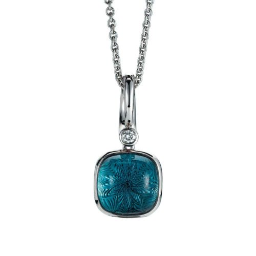 Gold pendant with blue gemstone on guilloched surface with diamond