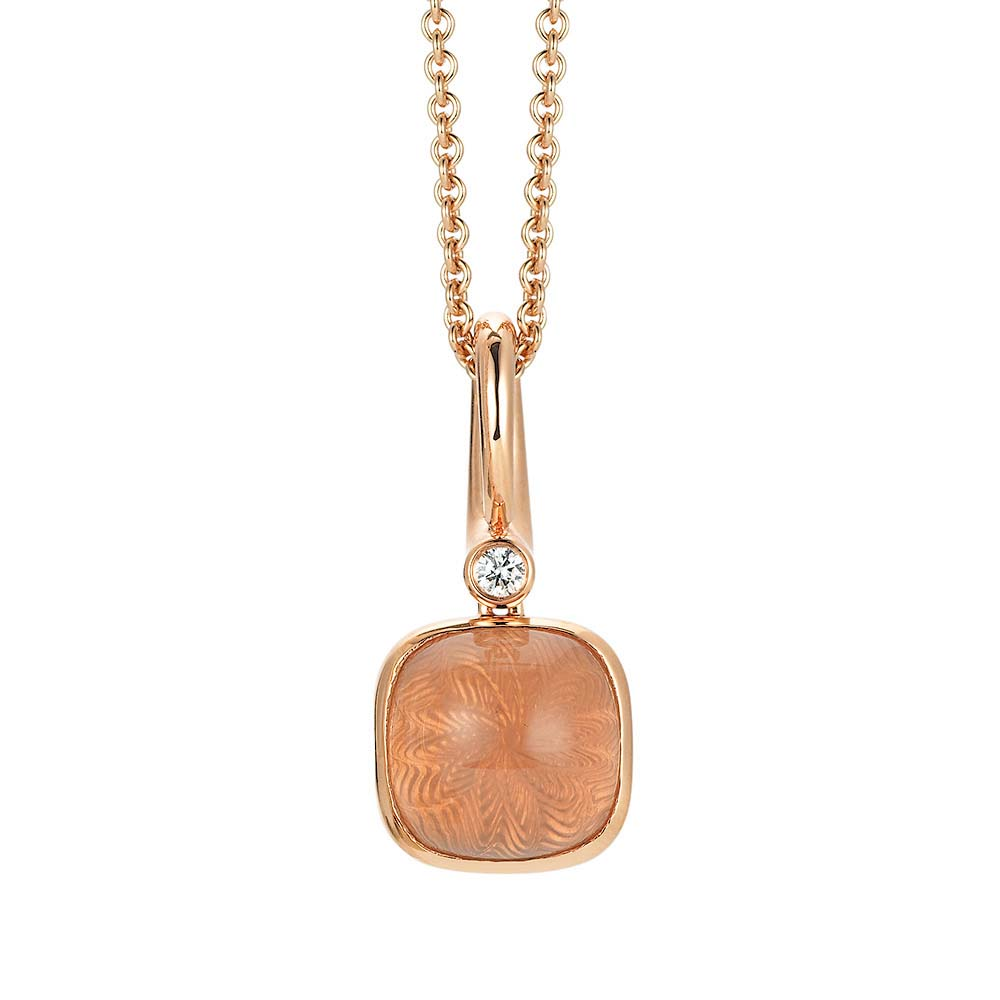 Diamond-set, rose gold pendant with rose quartz on guilloched pattern