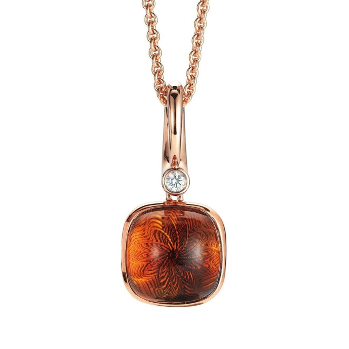 Diamond-set, rose gold pendant with madeira citrine on guilloched pattern