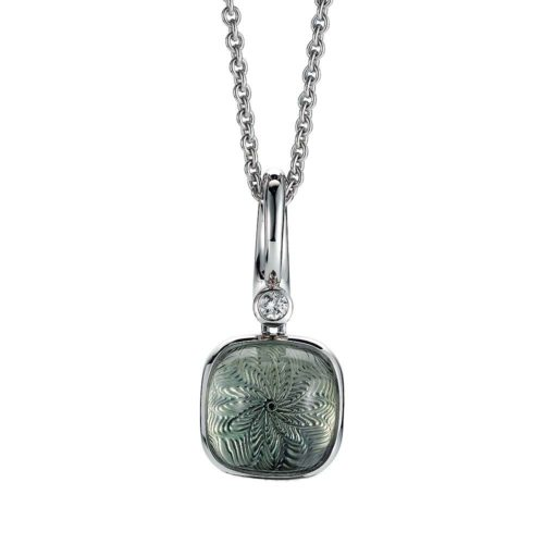 Gold pendant with green gemstone prasiolite on guilloched surface with diamond