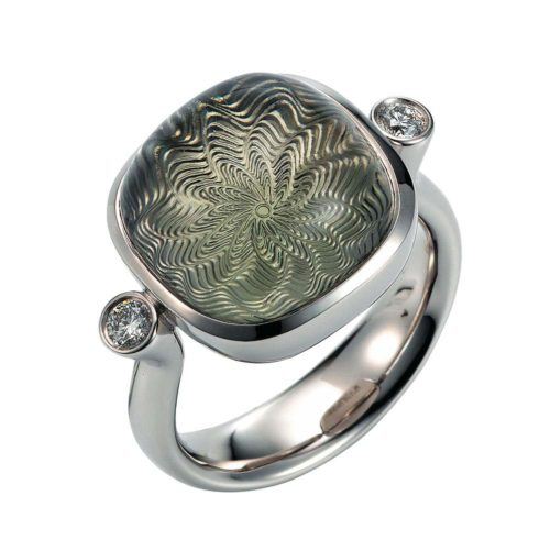 Gold ring with diamonds and green gemstone prasiolite with diamonds