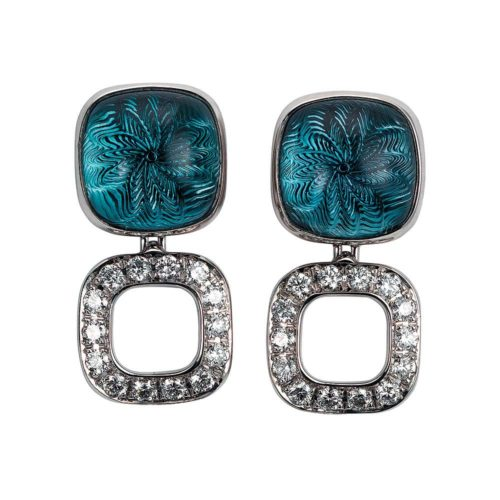 Gold earrings with blue gemstone and diamonds